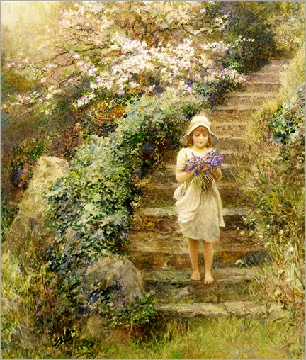 Arthur Hopkins- A young girl carrying violets