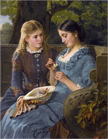 Berthold Woltze (german, 1829-1896)-Park scene with amorous young women