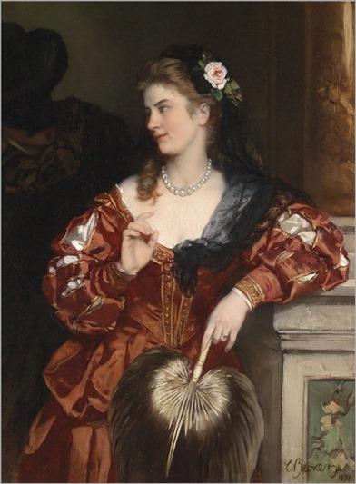 Carl Ludwig Friedrich Becker (Berlino 1820–1900) Giovane dama con rosa nei capelli