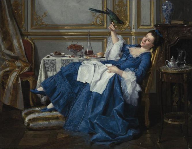 Charles Désiré Hue (1825 - 1883) - Her favourite bird