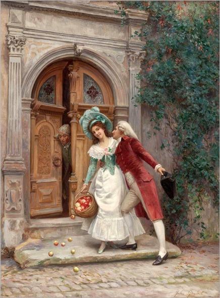 die liebeswerbung vor dem tor des palazzos_Jules Girardet (french, 1856-1938)