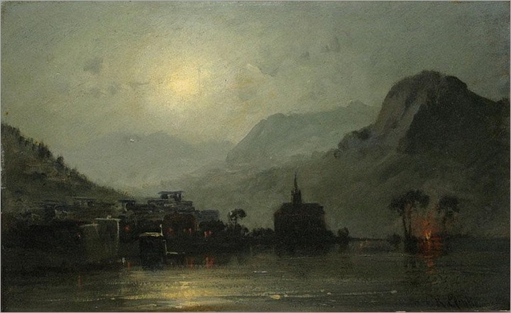 ESCHKE Hermann, 1823 -1900 Vue du lac de Genève au clair de lune