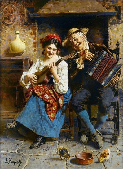 Eugenio Zampighi (Italian, 1859-1944) - Music hath charms