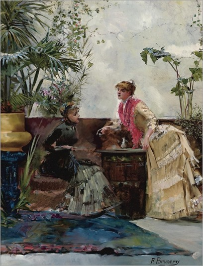 François Brunery (italian, 1849-1926) - The conversation - by Sothebys