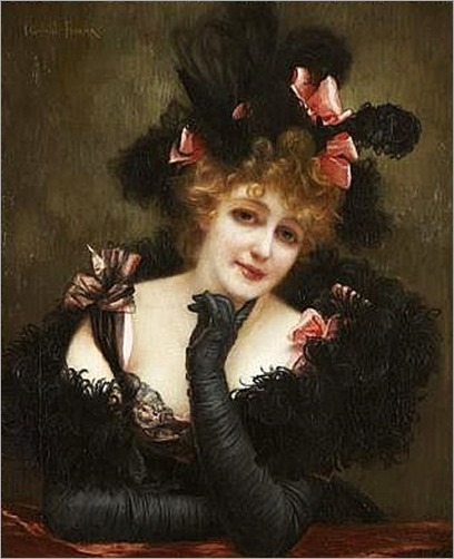GabrielFerrier-Portrait_of_a_lady,_wearing_a_black_dress_and_gloves_with_pink_ribbons