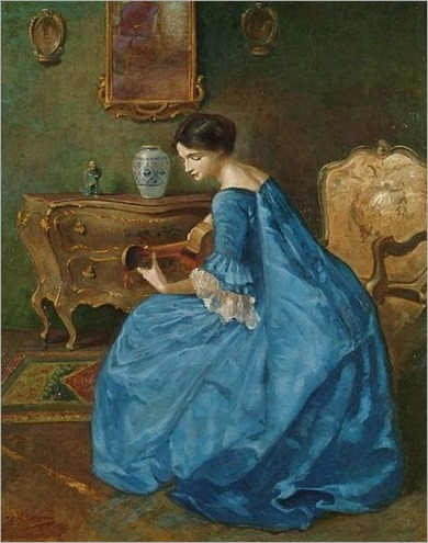 Girl in Blue with Guitar - Viktor Schramm (romanian painter)