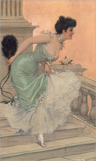 Jan van Beers (1852 - 1927) - An elegant lady on the stairways