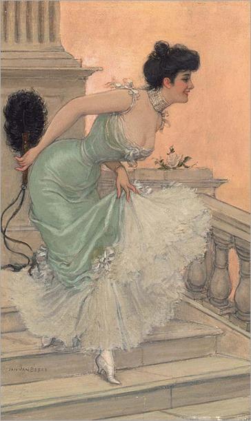 Jan van Beers (1852 - 1927) - An elegant lady on the stairways