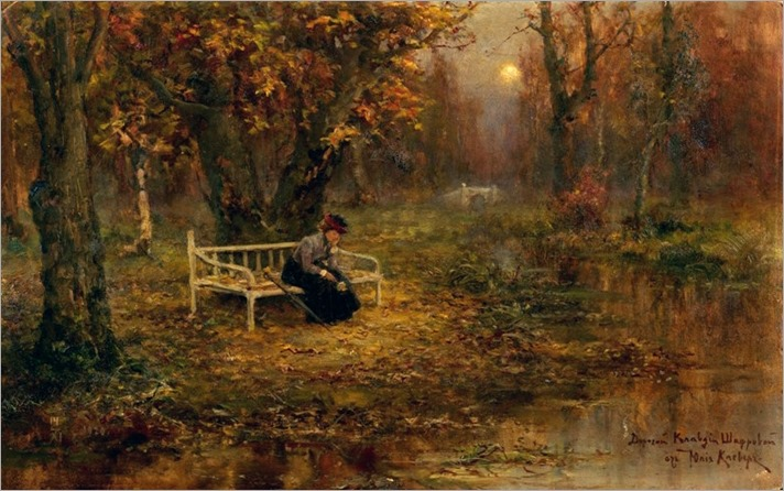 Julius Klever - (Russian, 1850-1924)-autumn remembrance