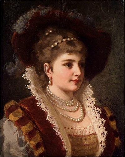 lady in renaissance costume-ANTON EBERT(German, 1845-1896)