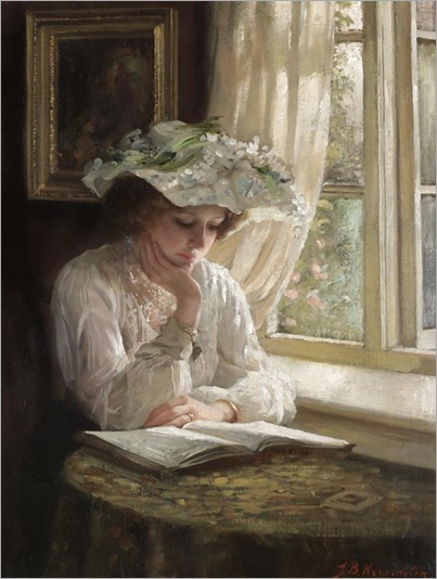LADY READING BY A WINDOW-Thomas Benjamin Kennington