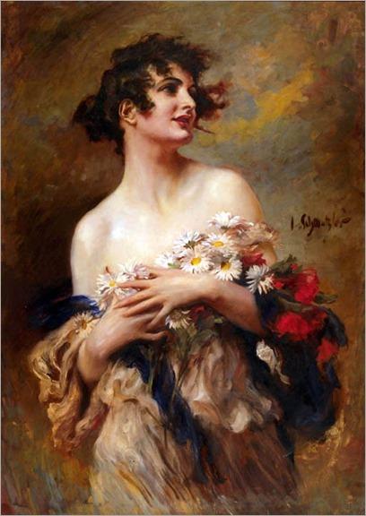 Lady with a Spray of Marguerites-Leopold Schmutzler