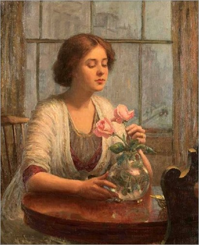 Lee Lufkin Kaula (1865-1957) - Arranging Roses