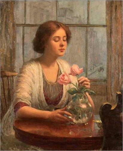 Lee Lufkin Kaula (1865-1957) - Arranging Roses