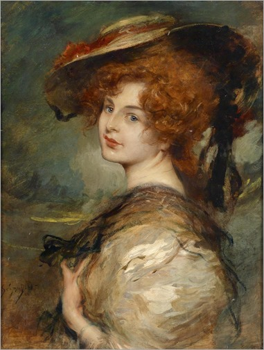 Leopold Schmutzler (1864 - 1940) - Portrait of a lady with red hair and hat