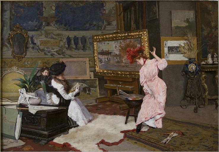 Lo Studio dell'Artista -. di Amerino Cagnoni  (italian, 1855-1923)