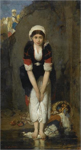Nikiforos Lytras (greek, 1832-1904) - YOUNG GIRL BY THE RIVER