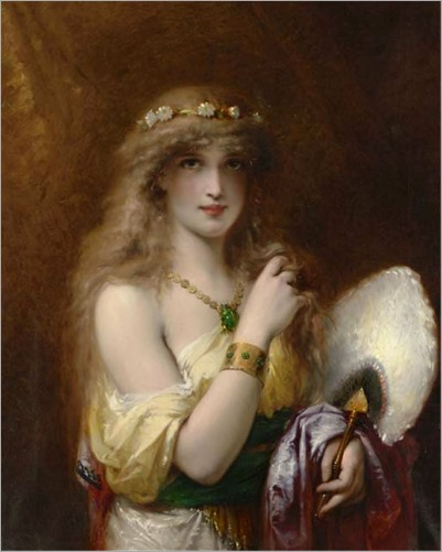 Olivier Joseph Coomans (1816-1889) - A Young Beauty holding a Fan