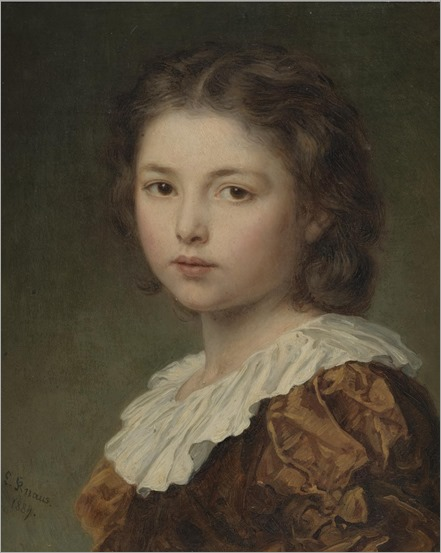 PORTRAIT OF A YOUNG GIRL - Ludwig Knaus (german, 1829-1910)