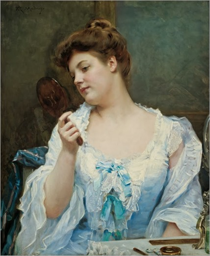 Raimundo de Madrazo y Garreta (Spanish 1841-1920)-A young beauty at her vanity