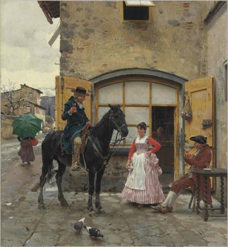 Stopping for a Drink-Raffaello Sorbi-1888