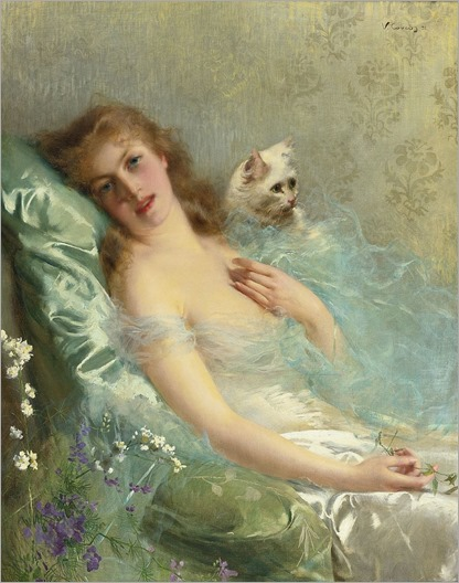 the white cat-Vittorio Matteo Corcos (italian)