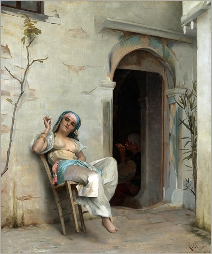 turkish woman smoking-Theodoros Ralli (greek painter)
