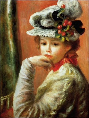 young girl in a white hat 1891-Pierre Auguste Renoir (French artist, 1841–1919)
