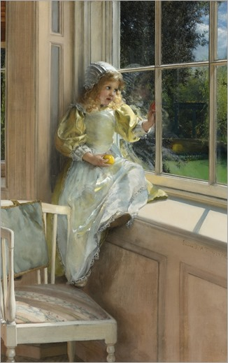 A LOOKING OUT O'WINDOW, SUNSHINE- Laura T. Alma-Tadema