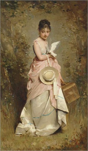 A young girl with a dove_Charles Chaplin