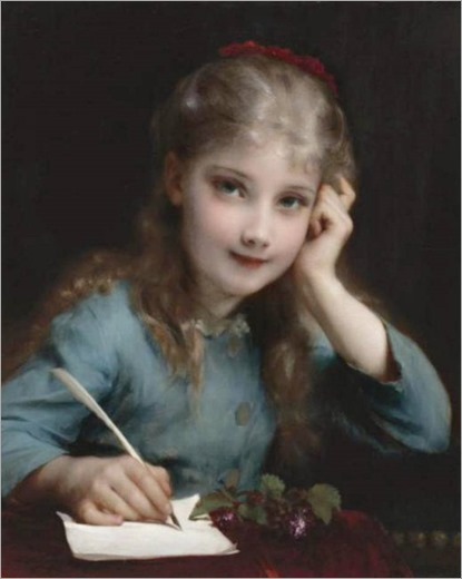 A Young Girl Writing a Letter. Etienne Adolphe Piot (French, 1850-1910)