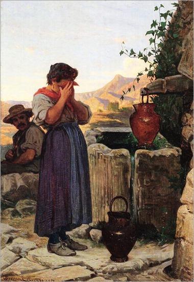 Alla fonte-1872-Odoardo Borrani (italian painter)