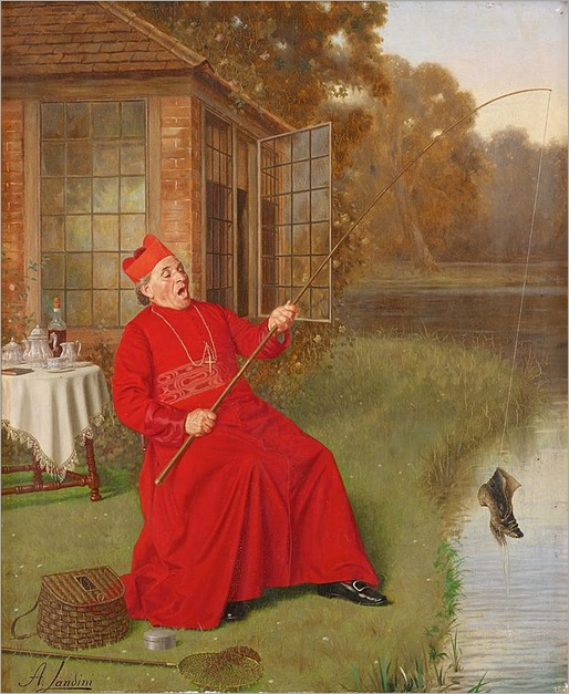 ANDREA LANDINI (italian 1847-1935) -THE CARDINAL'S CATCH