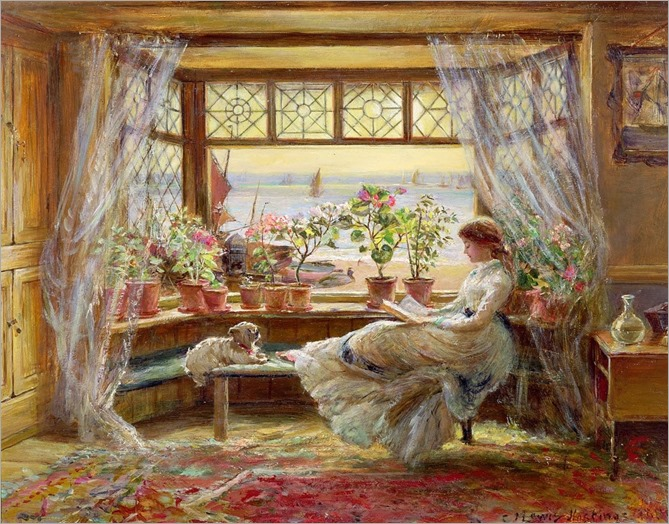 Charles James Lewis (1830-1892)- Reading by the Window