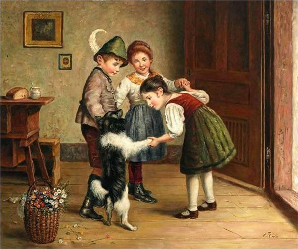 children-playing-Edmund Adler (1876 – 1965, Austrian)
