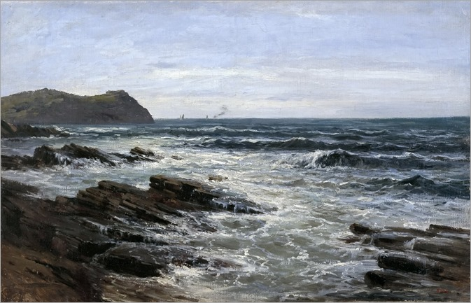 Cliffs, Guethay -1881- Carlos de Haes (spanish painter)