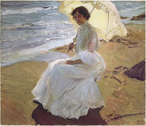 Clotilde at the beach, 1904.- Joaquin Sorolla y Bastida (Spanish, 1863-1923)