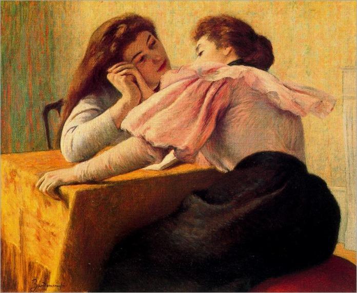 Colloquio al Tavolini- Frederico Zandomeneghi (italian painter)