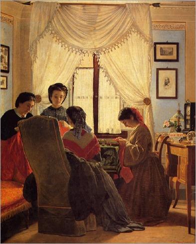 Cucitrici di camicie rosse - 1863- by Odoardo Borrani (italian painter)
