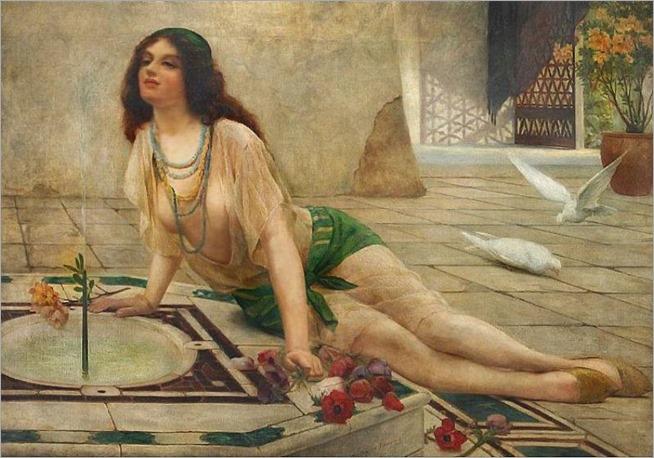 Delapoer Downing (British 1885-1902) Harem  Girl at a Fontain