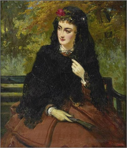 Edward Charles Barnes (British, 1832-1893)-a spanish beauty