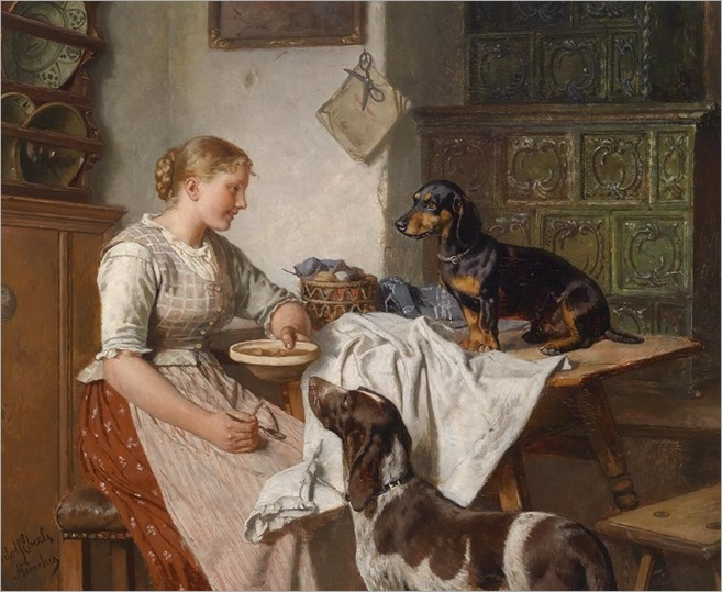 feeding the dogs - Adolf Eberle