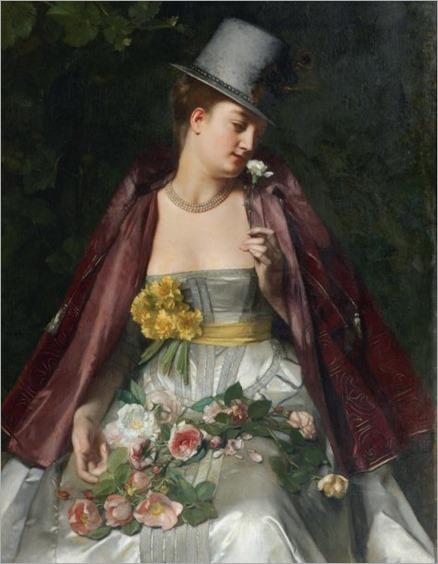 femme a la fleur toile-Florent Willems