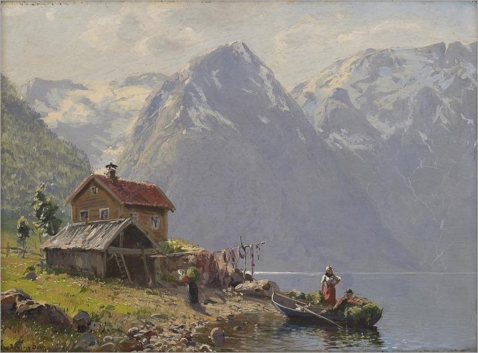 Fjordlandskap med folkeliv (1916)-Hans Andreas Dahl