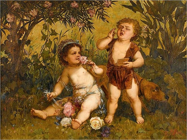 FRANZ LEFFLER (czech 1831-1898)-CHERUBS AT PLAY