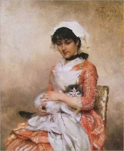 Girl with a Cat - 1881- Albert Edelfelt (finnish painter)
