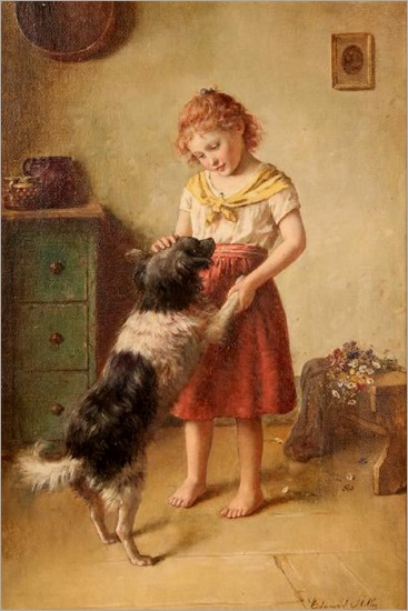 girl-with-dog - Edmund Adler (1876 – 1965, Austrian)