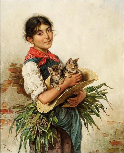 Heinrich Reinhart (1829-1914) - Die Katzenmama