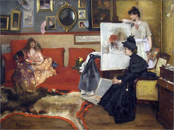 In the Studio (1888). Alfred Stevens (Belgian, 1823–1906)