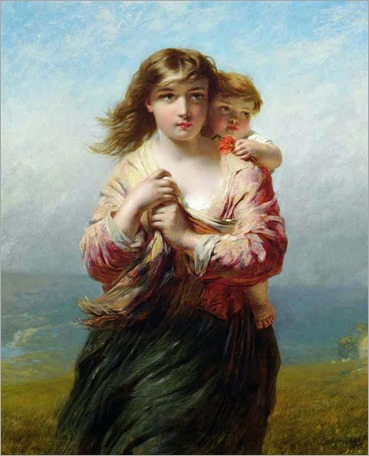 James John Hill (1811-1882)- Mother and Child on a Hillside Overlooking the Sea